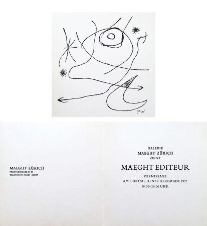 Aucune Technique Miró - Carton d'invitation pour une exposition Miró à la Galerie Maeght-Zürich. 1971.