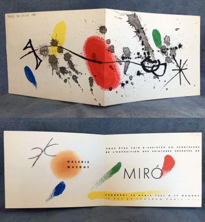 Lithographie Miró - Carton d'invitation pour une exposition Miró à la Galerie Maeght. 1961.