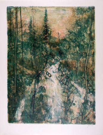 Lithographie Gantner - Cascade verte - Green Falls