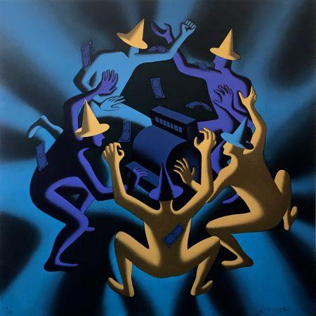 Sérigraphie Kostabi - CASH DANCE (BLUE)