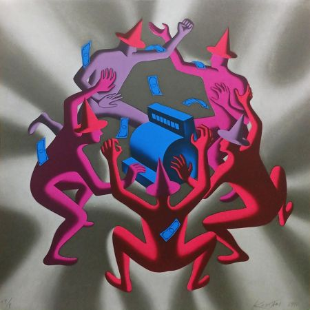 Sérigraphie Kostabi - CASH DANCE (GREY)