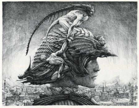 Gravure Desmazières - Casque d'Apparat/Head of a soldier