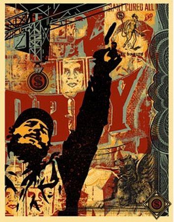 Sérigraphie Fairey - Castro Collage