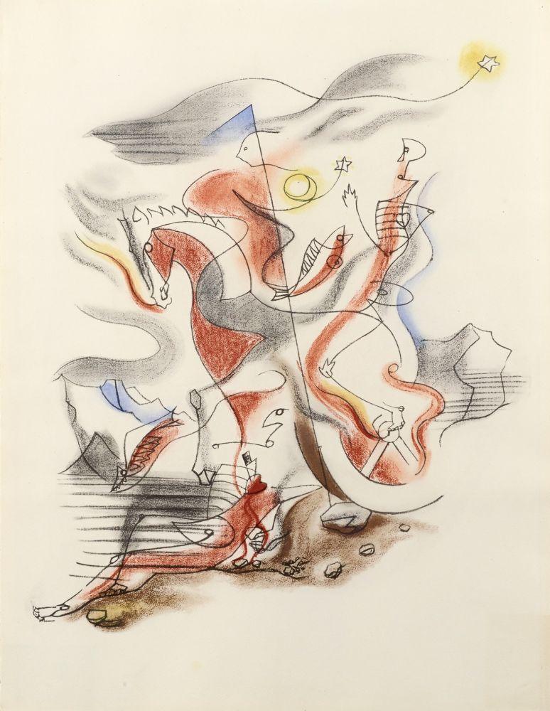 Lithographie Masson - CAVALIER, 1933
