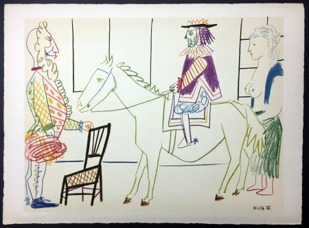 Lithographie Picasso - Cavalier costumé 1 (de La Comédie Humaine - Verve 29-30. 1954)