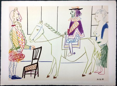 Lithographie Picasso - Cavalier costumé 1 (La Comédie Humaine - Verve 29-30. 1954)