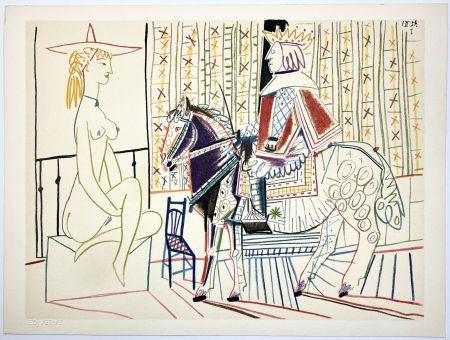 Lithographie Picasso - Cavalier costumé et modèle 2 (La Comédie Humaine - Verve 29-30. 1954).