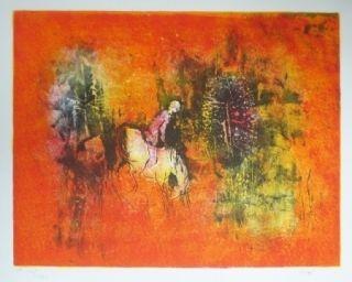 Lithographie Lebadang - Cavalier dans la forêt