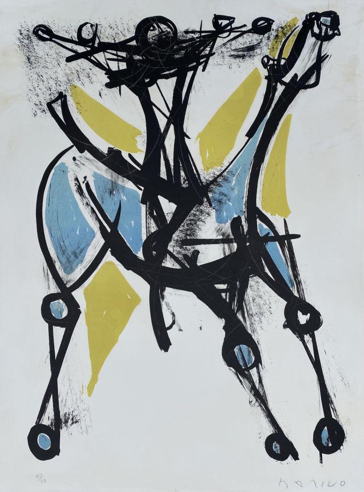 Lithographie Marini - Cavalier et Cheval, Jeune et Blue, 1952