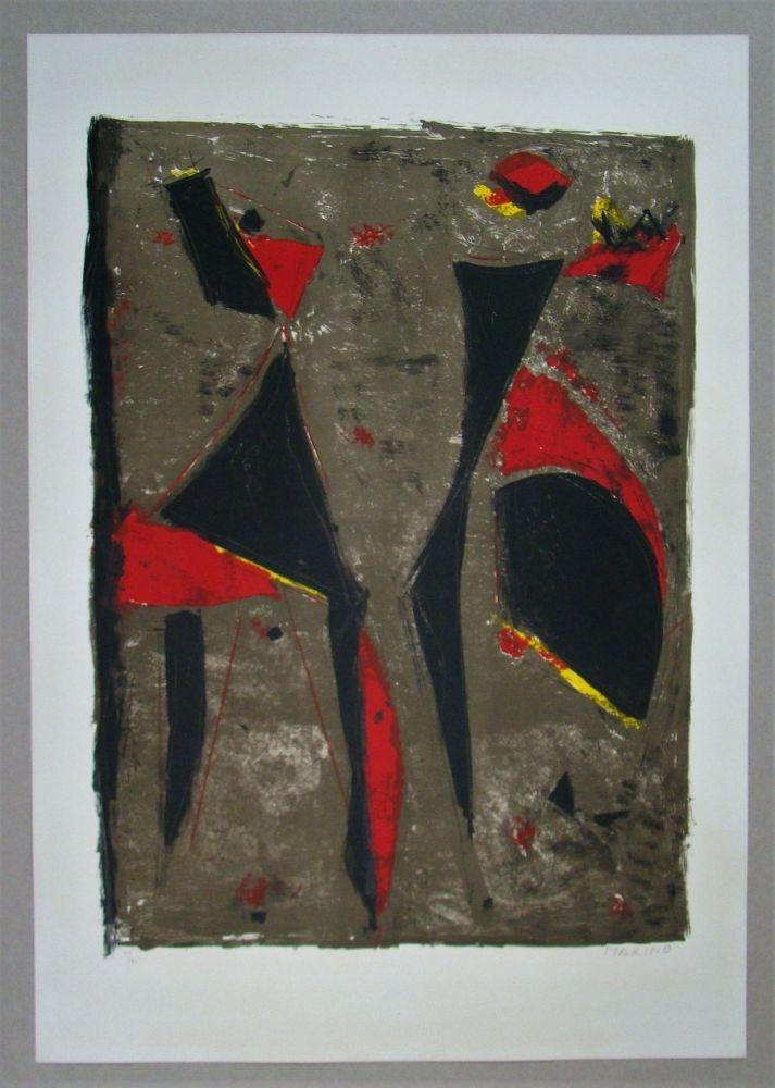 Lithographie Marini - Cavalier noir et rouge sur fond brun