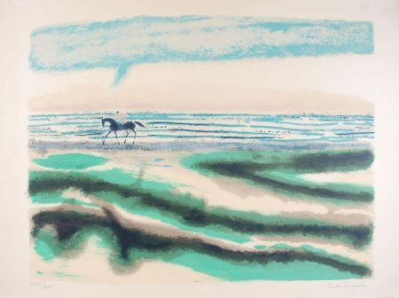 Lithographie Brasilier - Cavalier sur la plage