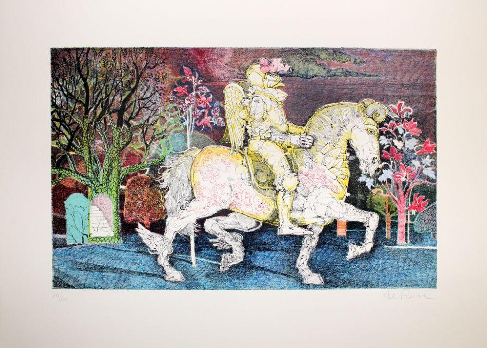 Lithographie De Rosa - Cavaliere 2