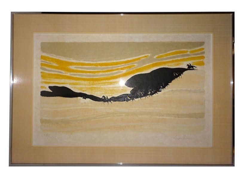 Lithographie Brasilier - Cavaliers dans les dunes