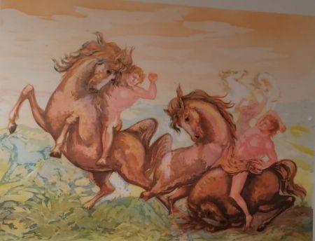 Lithographie Sassu - Cavalli e cavalieri