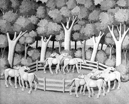 Gravure Sur Bois Morena - Cavalli nel bosco