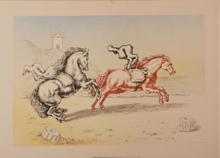 Lithographie De Chirico - Cavalli sulla riva dell'Egeo