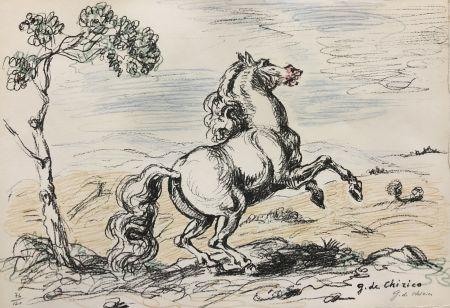 Lithographie De Chirico - Cavallo in libertà