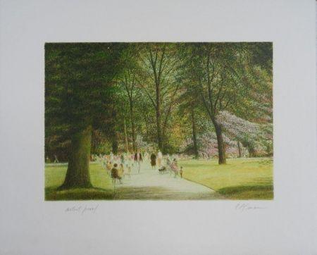 Lithographie Altman - Central Park - Terrace Drive
