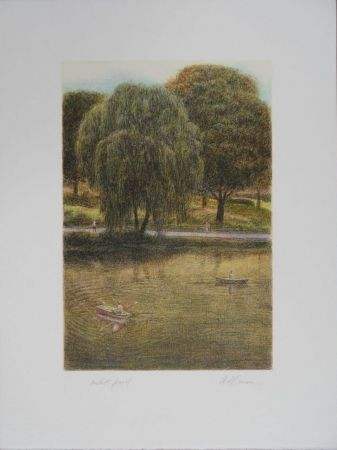 Lithographie Altman - Central Park - The Boats