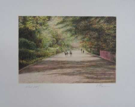 Lithographie Altman - Central Park - The horses