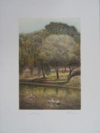 Lithographie Altman - Central Park - The Lake