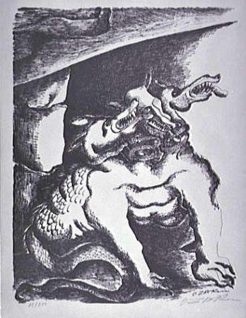 Lithographie Zadkine - Cerbere