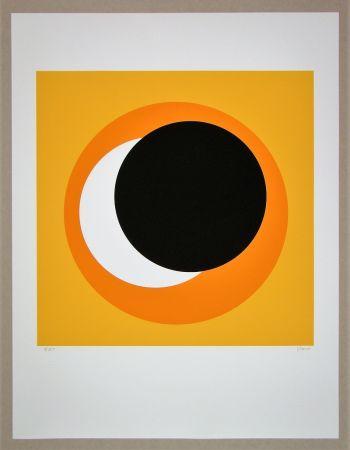 Sérigraphie Claisse - Cercle noir sur fond orange