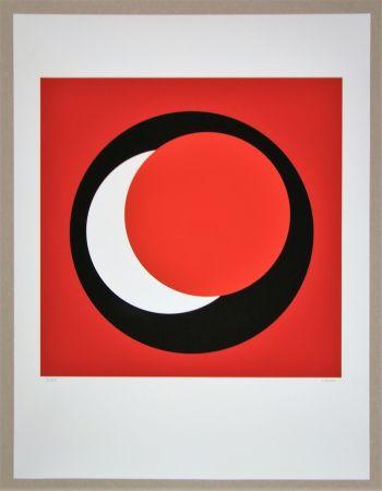 Sérigraphie Claisse - Cercle rouge sur fond rouge foncé