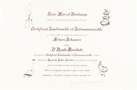 Lithographie Duchamp - Certificat de Lecture