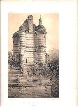Lithographie Petit - Châteaux de France des XV et XVIe siècles par Victor Petit