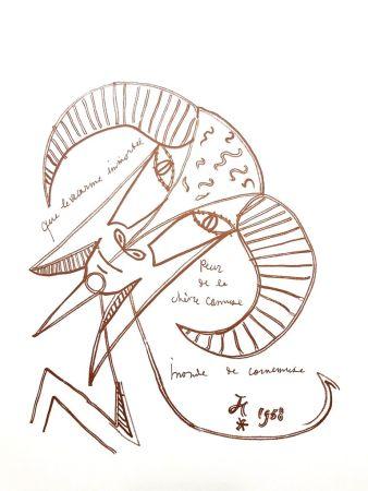 Lithographie Cocteau - Chèvre Immortelle