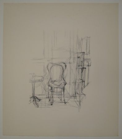 Lithographie Giacometti - Chaise et guéridon.