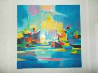 Lithographie Mouly - Chalutiers au port