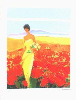 Lithographie Bellet - Champ de fleurs