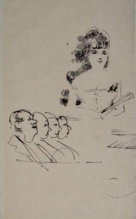 Monotype Forain - Chanteuse en scène