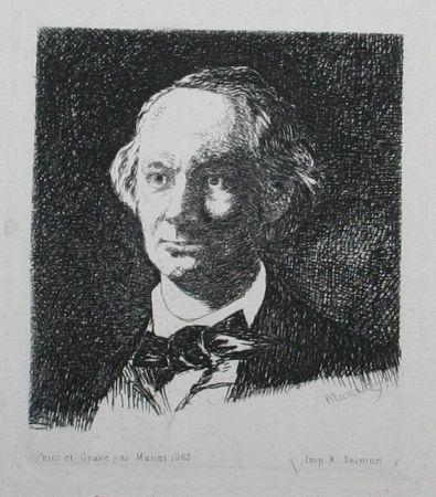 Gravure Manet - Charles Baudelaire, Full Face III