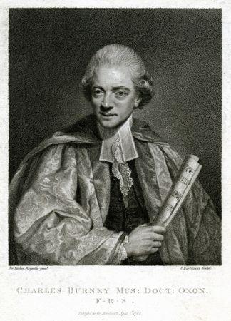 Eau-Forte Bartolozzi - Charles Burney Mus: Oxon./F.R.S., After Sir Joshua Reynolds