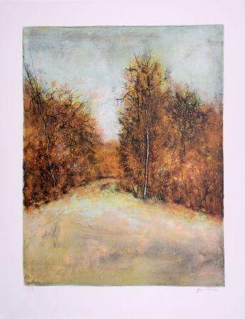 Lithographie Gantner - Chemin en forêt - Forest path