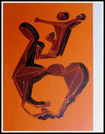 Lithographie Marini - CHEVAL & CAVALIER SUR FOND ORANGE
