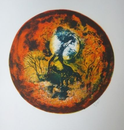 Lithographie Lebadang - Cheval clair lune