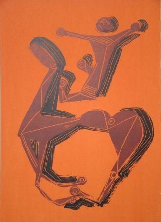 Lithographie Marini - Cheval et cavalier sur fond orange