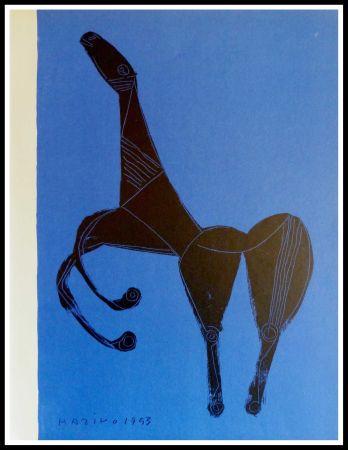 Lithographie Marini - CHEVAL SUR FOND BLEU
