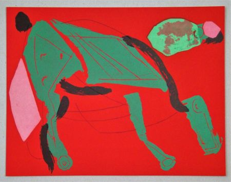 Lithographie Marini - Cheval sur fond rouge