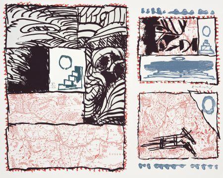 Lithographie Alechinsky - Chevalet Renversé