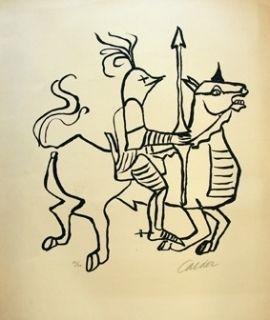 Lithographie Calder - Chevalier