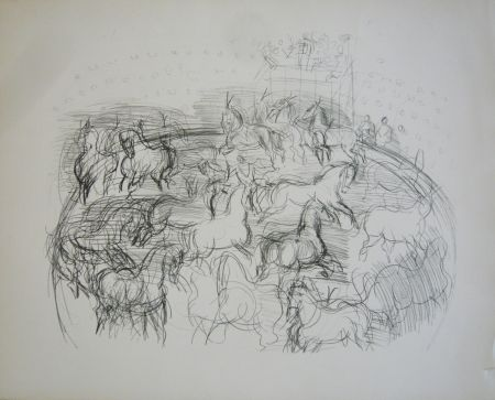 Lithographie Dufy - Chevaux