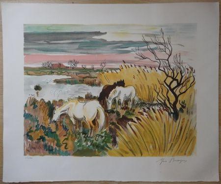 Lithographie Brayer - Chevaux en Camargue