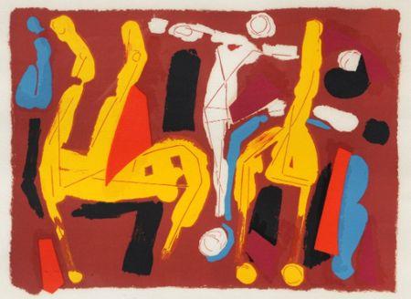 Lithographie Marini -  Chevaux et cavalier V, 1974