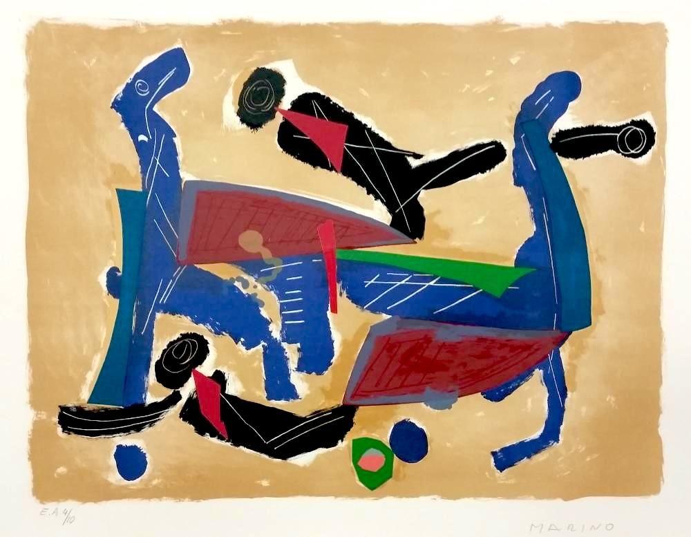 Lithographie Marini - Chevaux et cavaliers