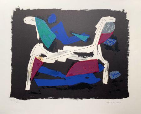 Lithographie Marini - Chevaux et cavaliers I